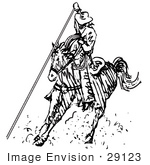 #29123 Royalty-Free Black And White Cartoon Clip Art Of A Roper Cowboy On A Horse Using A Lasso To Catch A Cow Or Horse