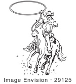 #29125 Royalty-Free Black And White Cartoon Clip Art Of A Roper Cowboy On A Horse Swinging A Lasso To Catch A Cow Or Horse