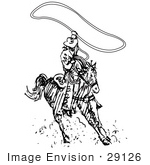 #29126 Royalty-Free Black And White Cartoon Clip Art Of A Roper Cowboy On A Horse Using A Lasso To Catch A Cow Or Horse