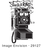 #29127 Royalty-Free Black And White Cartoon Clip Art Of A Ringing Wall Telephone