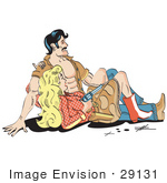 #29131 Royalty-Free Cartoon Clip Art Of A Cowboy Sitting Beside A Blond Cowgirl Who Is Holding A Gun