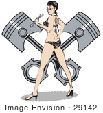 #29142 Royalty-Free Cartoon Clip Art Of A Sexy Brunette Woman In A Black And White Polka Dot Bikini And High Heels Holding A Wrench And Looking Back While Standing In Front Of A Piston