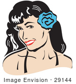 #29144 Royalty-Free Cartoon Clip Art Of A Pretty Brunette Woman With A Blue Flower In Her Hair