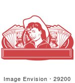 #29200 Royalty-Free Cartoon Clip Art Of A Pretty Cowgirl With A Mole Wearing A Hat And Standing Between Hands Of Playing Cards On A Red Banner