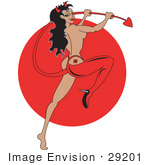 #29201 Royalty-Free Cartoon Clip Art Of A Sexy Pinup Woman Modeling In A Red High Heel And Devil Costume Holding Her Tail And Sporting A Rose Tattoo On Her Butt