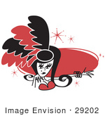 #29202 Royalty-Free Cartoon Clip Art Of A Pretty Showgirl In Red And Black Feathers Holding Out Her Arm In Front Of A Red Circle by Andy Nortnik