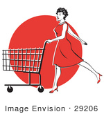 #29206 Royalty-Free Cartoon Clip Art Of A Young Woman In A Red Dress And High Heels Walking And Pushing A Shopping Cart In Front Of A Red Circle