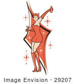 #29207 Royalty-Free Cartoon Clip Art Of A Sexy Woman In A Tight Red Dress Gloves And Tall Boots And Forked Devil Tail Dancing While Drinking At A Party