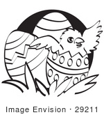 #29211 Royalty-Free Cartoon Clip Art Of A Baby Chicken Hatching Out Of A Decorated Easter Egg Black And White