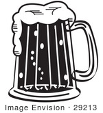 #29213 Royalty-Free Cartoon Clip Art Of A Black And White Frothy Mug Of Beer In A Bar