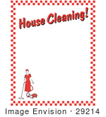 #29214 Royalty-Free Cartoon Clip Art Of A Woman Vacuuming With A Canister Vacuum With Text Reading &Quot;House Cleaning!&Quot; Borderd By Red Checkers