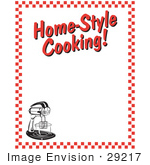 #29217 Royalty-Free Cartoon Clip Art Of An Electric Mixer And Text Reading &Quot;Home-Style Cooking!&Quot; Borderd By Red Checkers