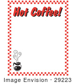 "#29223 Royalty-free Cartoon Clip Art of a Steamy Hot Pot Of Coffee And Text Reading ""Hot Coffee!"" Borderd By Red Checkers by Andy Nortnik"