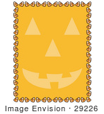#29226 Royalty-Free Cartoon Clip Art Of An Orange Background With A Jack O Lantern Face And A Border Of Candy Corn