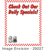 #29227 Royalty-Free Cartoon Clip Art Of A Salt And Pepper Shakers And Text Reading &Quot;Check Out Our Daily Specials!&Quot; Borderd By Red Checkers