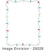 #29228 Royalty-free Cartoon Clip Art of a Stationery Frame Of Colorful Christmas Lights Bordering A White Background by Andy Nortnik