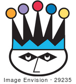 #29235 Royalty-Free Cartoon Clip Art Of A Joker'S Face Wearing A Colorful Jester Hat