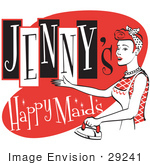 #29241 Royalty-Free Cartoon Clip Art Of A Happy Redhaired Woman In An Apron Ironing Clothes On A Vintage Jenny'S Happy Maids Advertisement