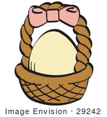 #29242 Royalty-Free Cartoon Clip Art Of A Egg In A Brown Easter Basket With A Pink Bow On The Handle by Andy Nortnik