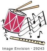 #29243 Royalty-Free Cartoon Clip Art Of A Drumsticks Playing A Drum And A Flute Over A Musical Note Background