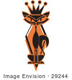 #29244 Royalty-Free Cartoon Clip Art Of A Slim Black Siamese Cat In Silhouette Wearing A Kings Crown