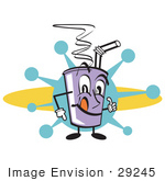 #29245 Royalty-Free Cartoon Clip Art Of A Purple Cup Holding Fountain Soda And A Straw