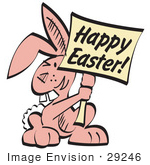 #29246 Royalty-Free Cartoon Clip Art Of A Pink Easter Bunny With Buck Teeth Holding A Happy Easter Sign