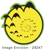 #29247 Royalty-Free Cartoon Clip Art Of A Continuous Vortex Spiral Of Vampire Bats Flying In Silhouette Against A Bright Full Yellow Moon And Slowly Disappearing In The Distance