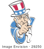 #29250 Royalty-Free Cartoon Clip Art Of American Uncle Sam Pointing Out At The Viewer