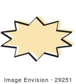 #29251 Royalty-Free Cartoon Clip Art Of A Tan Starburst With A Black Outline