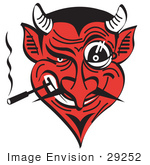 #29252 Royalty-Free Cartoon Clip Art Of An Evil And Greedy Devil With A Red Face Smoking And Grinning