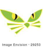 #29253 Royalty-Free Cartoon Clip Art Of A Pair Of Green Cat Eyes And Whiskers Glowing In The Dark
