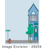 #29254 Royalty-Free Cartoon Clip Art Of A Fire Hydrant By A Fence And Home On Main Street