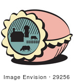 #29256 Royalty-Free Cartoon Clip Art Of A Pink Decorated Easter Egg With A Farm Scene Of Cows Grazing In A Pasture Near A Barn by Andy Nortnik