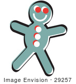 #29257 Royalty-Free Cartoon Clip Art Of A Happy Gingerbread Man Cookie