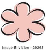 #29263 Royalty-free Cartoon Clip Art of a Pink Flower Shape by Andy Nortnik