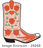 #29268 Royalty-Free Cartoon Clip Art Of A Pink Cowgirl Boot With A Pattern Of Red Roses