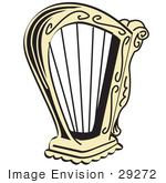 #29272 Royalty-Free Cartoon Clip Art Of A Golden Harp Instrument Over A White Background