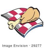 #29277 Royalty-Free Cartoon Clip Art Of A Tasty Chicken Drumstick On A Checkered Picnic Blanket