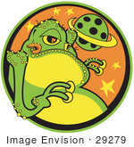 #29279 Royalty-Free Cartoon Clip Art Of A Big Fat Green Alien With A Yellow Belly And Yellow Suction Fingers Licking His Lips