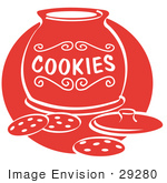 #29280 Royalty-free Cartoon Clip Art of a Chocolate Chip Cookies On A Counter In Front Of An Open Cookie Jar by Andy Nortnik