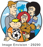 #29290 Royalty-free Cartoon Clip Art of a Happy Family of Four With a Dog and a Soccer Ball by Andy Nortnik