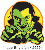 #29291 Royalty-Free Cartoon Clip Art Of A Male Vampire With Dark Hair Slicked Back Reaching Outwards While Grinning And Showing His Fangs As A Vampire Bat Flies In The Distance