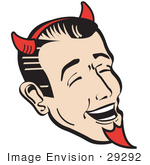 #29292 Royalty-Free Cartoon Clip Art Of A Man Wearing Red Horns And A Red Goatee Laughing Devilishly On Halloween