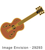 #29293 Royalty-Free Cartoon Clip Art Of A Western Guitar Over A White Background