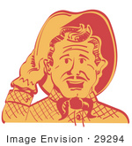 #29294 Royalty-Free Cartoon Clip Art Of A Friendly Cowboy Man Tipping His Hat While Saying Howdy