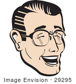 #29295 Royalty-Free Cartoon Clip Art Of A Happy Man Wearing Glasses And Laughing