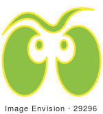 #29296 Royalty-Free Cartoon Clip Art Of A Pair Of Green And Yellow Ghost Eyes Glowing