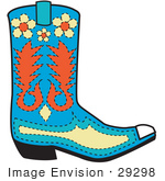 #29298 Royalty-free Cartoon Clip Art of a Blue Cowboy Boot With Orange And Yellow Floral Shapes by Andy Nortnik