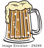 #29299 Royalty-Free Cartoon Clip Art Of A Frothy Mug Of Beer In A Bar
